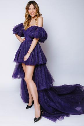 Фіолетова сукня з мерехтінням з фатину зі змінною довжиною і шлейфом в прокат и oренду в Киiвi. Фото 2