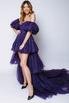 Фиолетовое платье с мерцанием из фатина с переменной длиной и шлейфом в прокат и аренду в Киеве. Фото 2