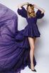 Фиолетовое платье с мерцанием из фатина с переменной длиной и шлейфом в прокат и аренду в Киеве. Фото 3