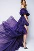 Фиолетовое платье с мерцанием из фатина с переменной длиной и шлейфом в прокат и аренду в Киеве. Фото 1