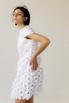 Белое платье мини из цветочных аппликаций в прокат и аренду в Киеве, Одессе, Харькове. Фото 3