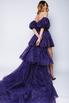 Фиолетовое платье с мерцанием из фатина с переменной длиной и шлейфом в прокат и аренду в Киеве. Фото 4