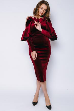 Оксамитове плаття зі спущеними плечима і воланом винного кольору в прокат и oренду в Киiвi. Фото 1