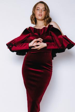 Оксамитове плаття зі спущеними плечима і воланом винного кольору в прокат и oренду в Киiвi. Фото 2