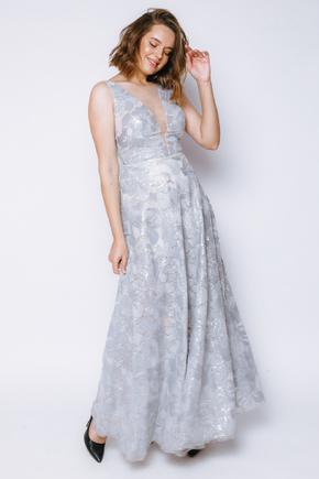 Срібна сукня в підлогу з блиском і глибоким вирізом в прокат и oренду в Киiвi. Фото 1