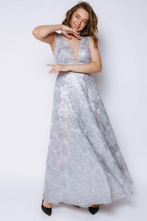 Срібна сукня в підлогу з блиском і глибоким вирізом в прокат и oренду в Киiвi. Фото 2