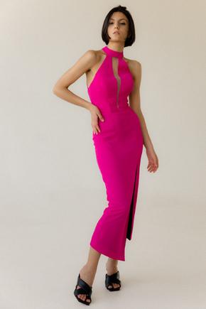 Коктельне плаття міді з глибоким декольте кольору фуксія в прокат и oренду в Киiвi. Фото 2