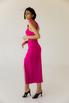 Коктельное платье миди с глубоким декольте цвета фуксия в прокат и аренду в Киеве. Фото 4
