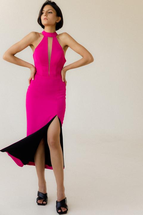 Коктельное платье миди с глубоким декольте цвета фуксия