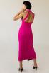 Коктельное платье миди с глубоким декольте цвета фуксия в прокат и аренду в Киеве. Фото 3