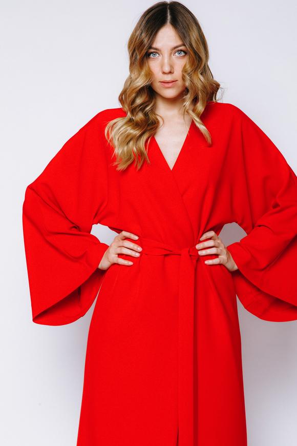 Красное платье-кимоно на запах в прокат и аренду в Киеве, Одессе, Харькове. Фото 1