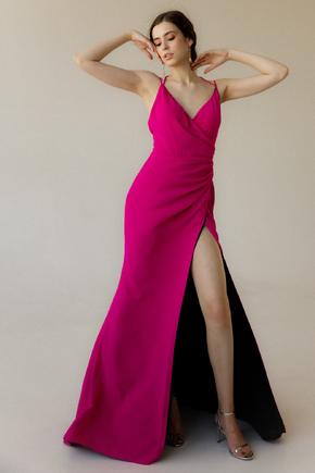 Довге вечірнє плаття зі шлейфом кольору фуксія в прокат и oренду в Киiвi. Фото 2