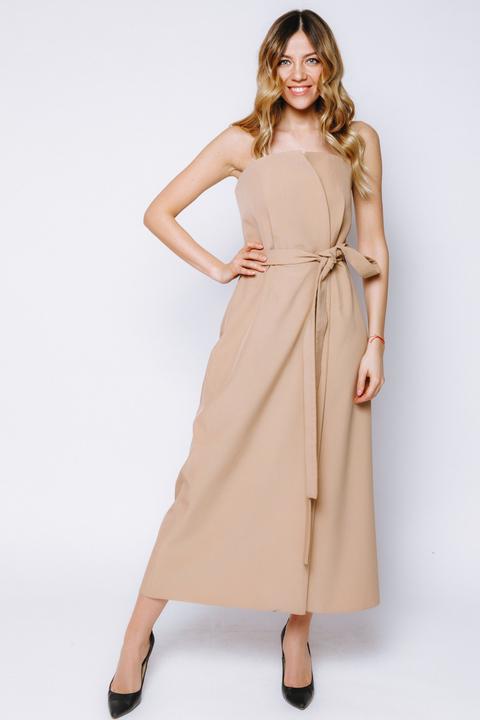 Бежевое платье-корсет на запах