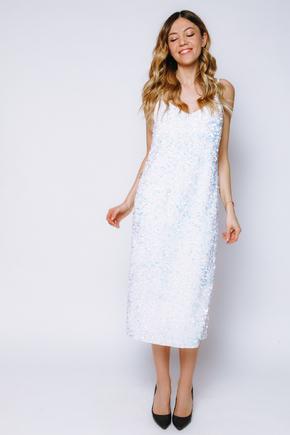 Сукня-комбінація білого кольору з блискучих пайеток в прокат и oренду в Киiвi. Фото 1
