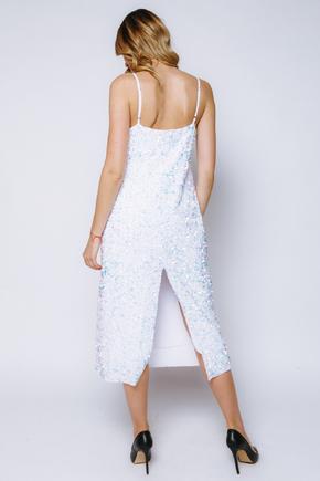 Сукня-комбінація білого кольору з блискучих пайеток в прокат и oренду в Киiвi. Фото 2