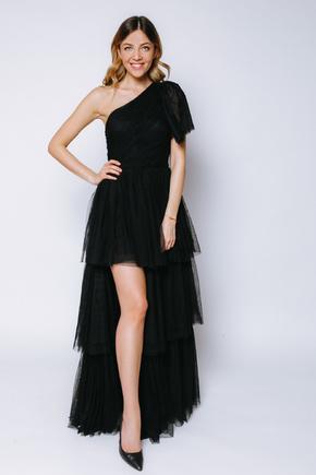 Чорна пишна сукня на одне плече зі змінною довжиною в прокат и oренду в Киiвi. Фото 1