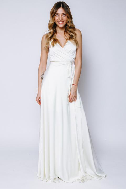 Шелковое платье в пол лимонного цвета с коротким подкладом