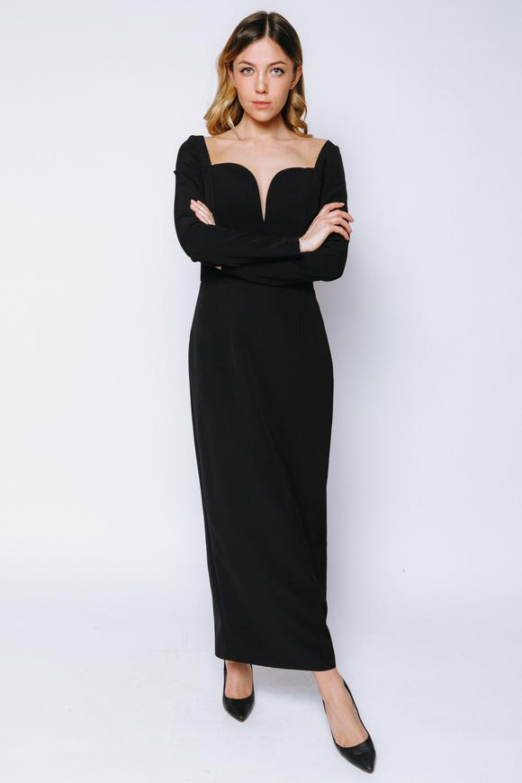 Чёрное платье длины миди с фигурным декольте в прокат и аренду в Киеве, Одессе, Харькове. Фото 1