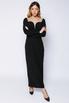 Чёрное платье длины миди с фигурным декольте в прокат и аренду в Киеве. Фото 1