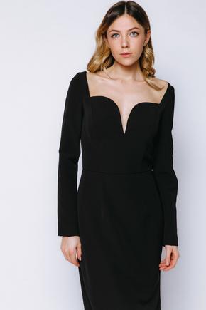 Чорна сукня довжини міді з фігурним декольте в прокат и oренду в Киiвi. Фото 2