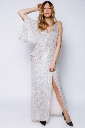 Сукня в паєтки з драпіруванням на праве плече кольору шампанського в прокат и oренду в Киiвi. Фото 1