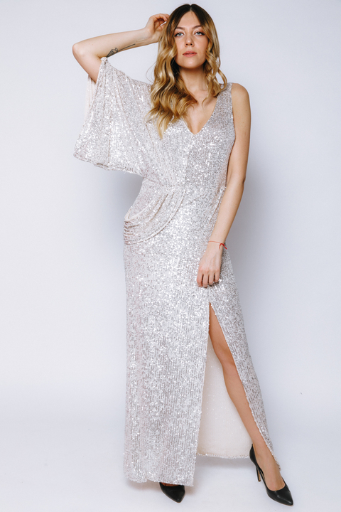 Платье в пайетки с драпировкой на правое плечо  цвета шампанского