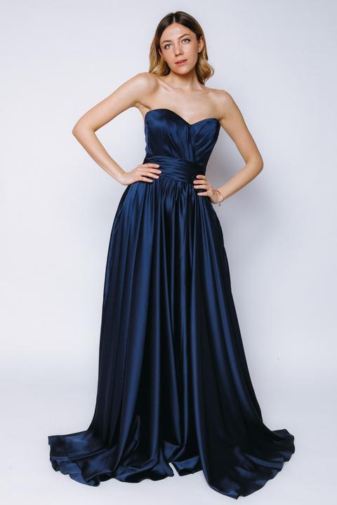 Синее шелковое платье-бюстье с разрезом
