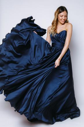 Синє шовкове плаття-бюстьє з розрізом в прокат и oренду в Киiвi. Фото 2