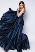 Синее шелковое платье-бюстье с разрезом в прокат и аренду в Киеве. Фото 6