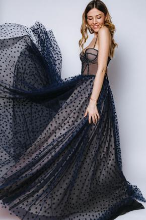 Корсетна пишна сукня в горошок синього кольору в прокат и oренду в Киiвi. Фото 1