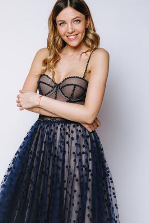Корсетна пишна сукня в горошок синього кольору в прокат и oренду в Киiвi. Фото 2