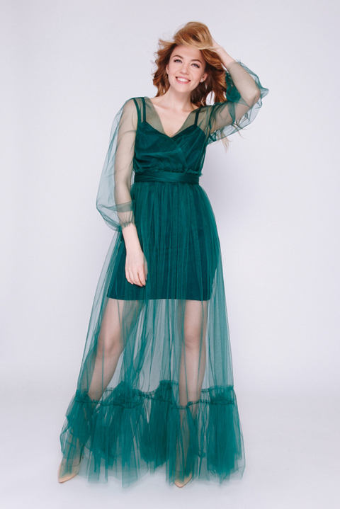 Комбинированное зеленое платье