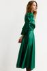 Зеленое платье на запах с объёмными плечами и скошенным низом в прокат и аренду в Киеве. Фото 5