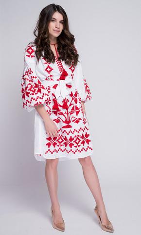 Біла вишиванка з червоною вишивкою в прокат и oренду в Киiвi. Фото 2