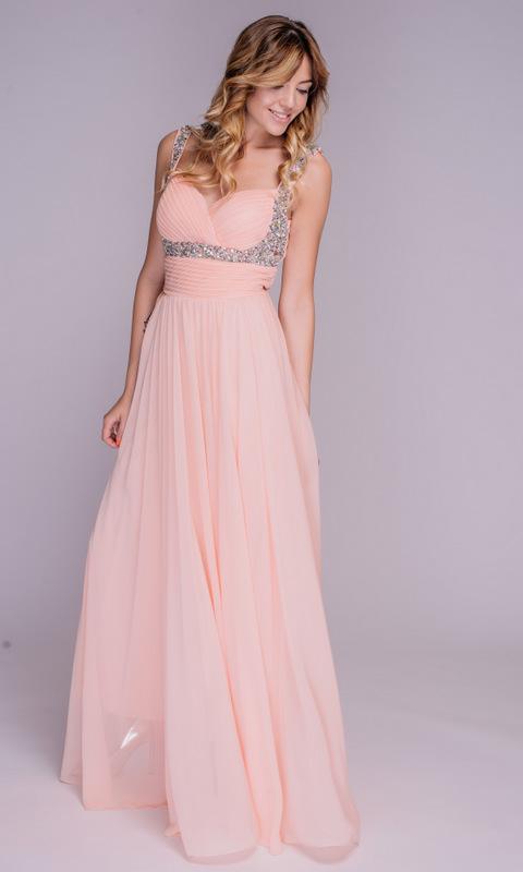 Розовое платье макси с камнями