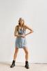 Голубое шелковое платье длины мини с платком в прокат и аренду в Киеве. Фото 2