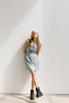 Голубое шелковое платье длины мини с платком в прокат и аренду в Киеве. Фото 1