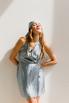 Голубое шелковое платье длины мини с платком в прокат и аренду в Киеве. Фото 4