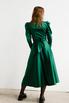 Зеленое платье на запах с объёмными плечами и скошенным низом в прокат и аренду в Киеве. Фото 6