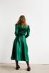 Зеленое платье на запах с объёмными плечами и скошенным низом в прокат и аренду в Киеве. Фото 7