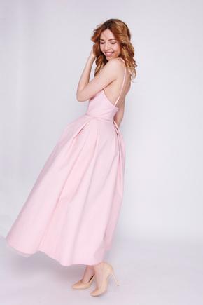 Рожеве плаття міді з пишною спідницею і відкритими плечима в прокат и oренду в Киiвi. Фото 2