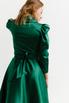 Зеленое платье на запах с объёмными плечами и скошенным низом в прокат и аренду в Киеве. Фото 8