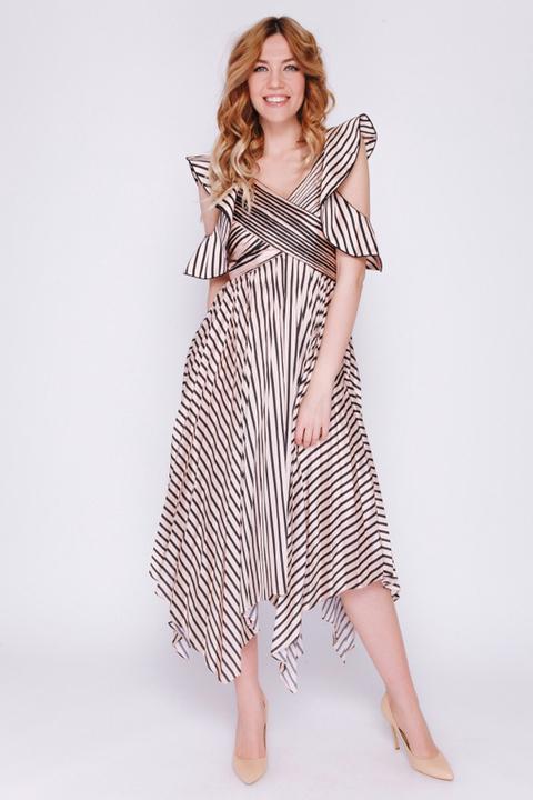 Платье миди с принтом и плиссированной юбкой