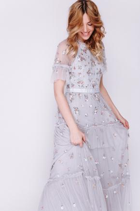 Сіра сукня максі з фатину з вишивкою в прокат и аренду в Киеве. Фото 2