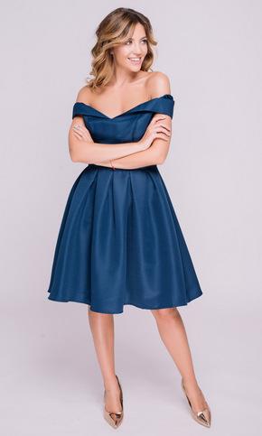 Синє плаття зі спущеними плечима в прокат и oренду в Киiвi. Фото 2