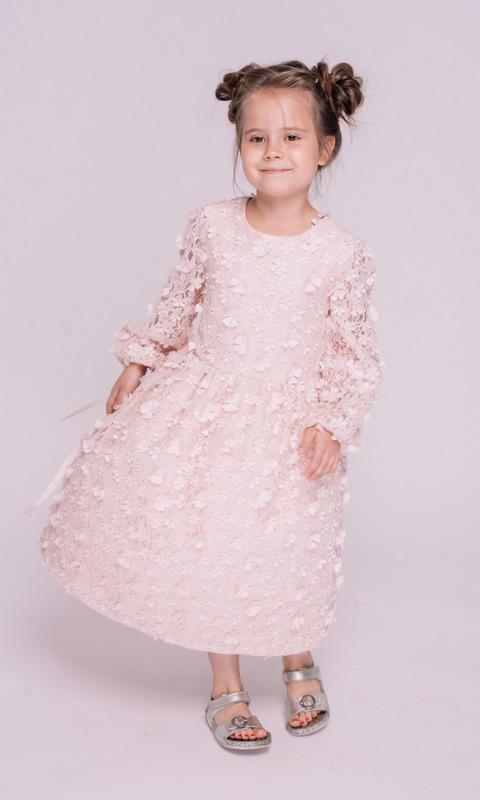 Детское розовое платье с аппликацией