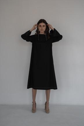 Сукня довжини міді вільного крою з білою строчкою в прокат и oренду в Киiвi. Фото 1