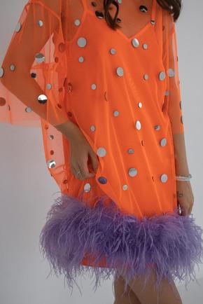 Помаранчеве плаття з дзеркалами і пір'ям в прокат и oренду в Киiвi. Фото 2