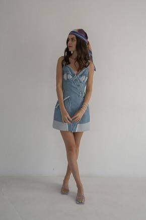 Джинсова сукня бюст'є міні блакитного кольору в прокат и oренду в Киiвi. Фото 2