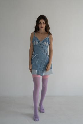 Джинсова сукня бюст'є міні блакитного кольору в прокат и oренду в Киiвi. Фото 1